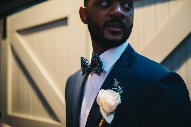 Calvin Klein navy groom suit