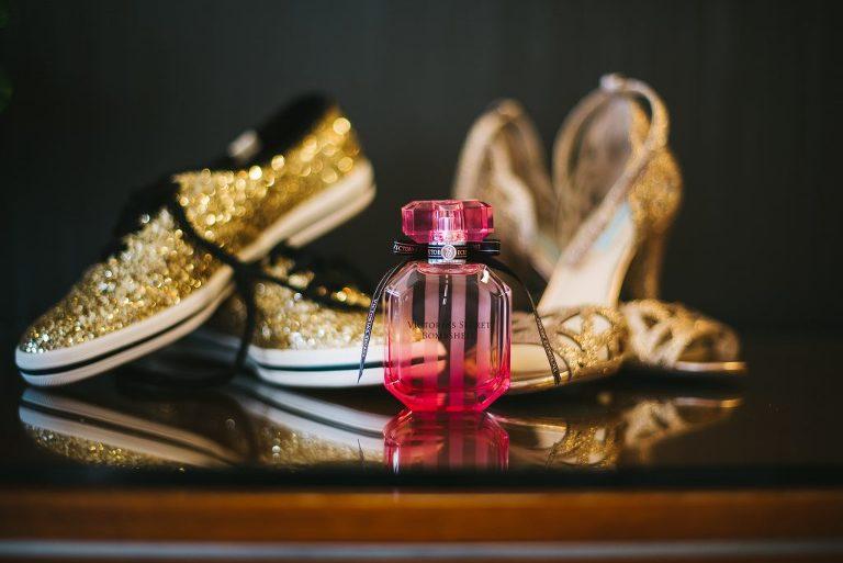 victoria secret perfume gold glitter keds