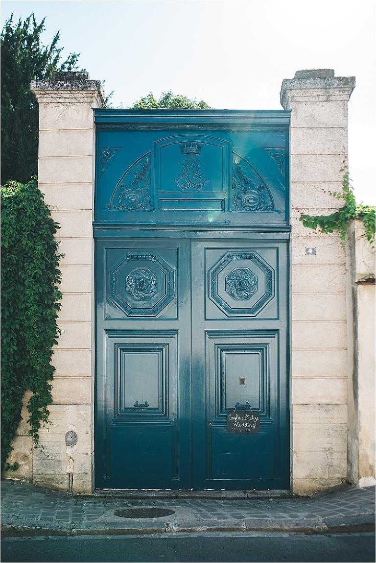 paris france private residence wedding blue door
