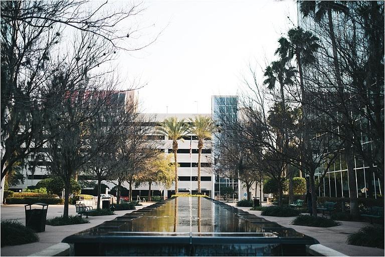 large water fountain next to 310 lakeside in downtown orlando next to lake eola