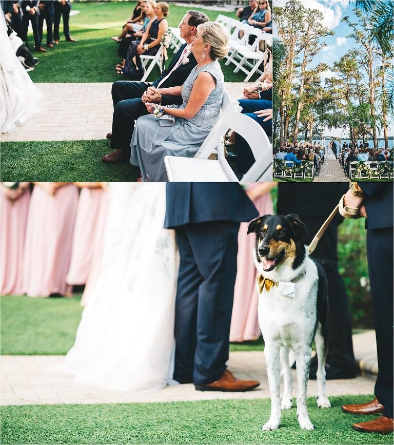 Outdoor Wedding Ceremony Orlando: Blush & Navy Lakeside Outdoor Wedding