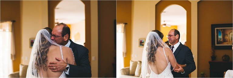 father seeing the bride for the first time in her dress