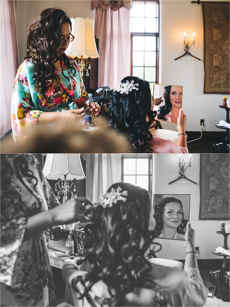 bride getting ready at howey mansion
