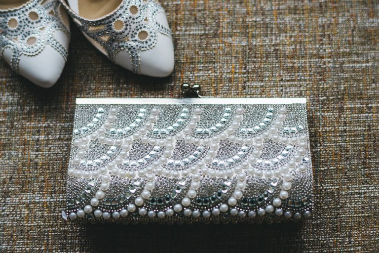 bridal detail shoe and purse