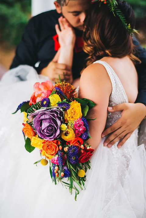 colorful wedding bouquet mission inn intimate portrait