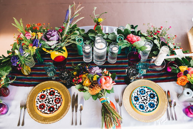 colorful wedding inspiration decor mission inn